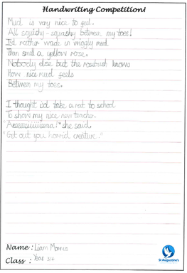 Handwriting Competition | St Augustine's Catholic Primary School